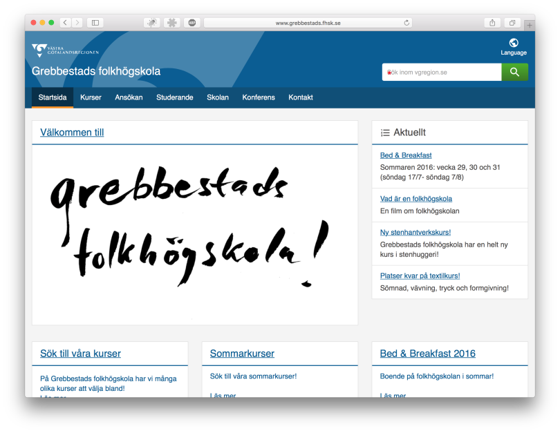 Grebbestads folkhögskolas nya webbplats i Episerver CMS